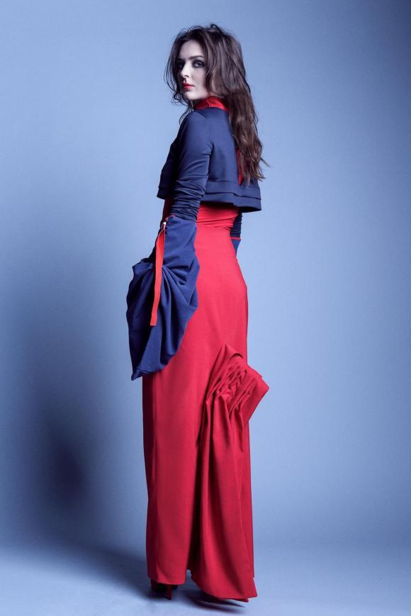 Red maxi 'You talk too much' skirt with godets