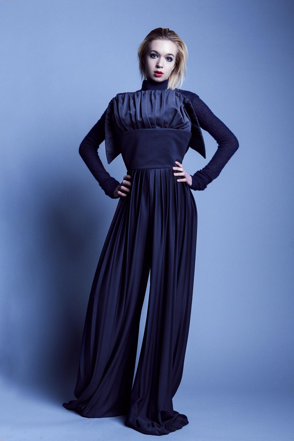 Monumental 'You talk too much' overall with pleated pants